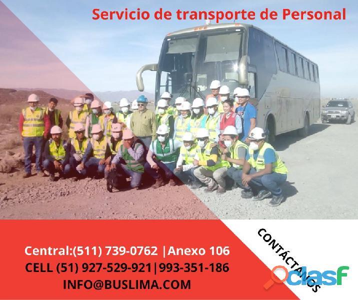 Servicios de transporte de PERSONAL PARA EMPRESAS EN LIMA