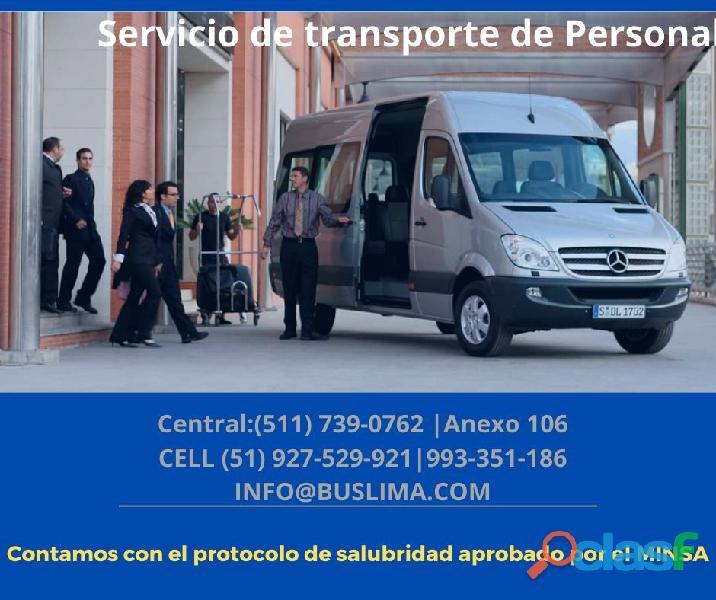 Servicios de transporte de personal con Unidades Modernas,.