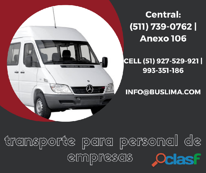 Transporte de personal con unidades modernas en Lima y todo