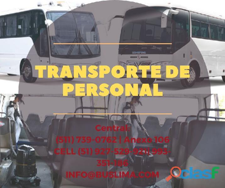 Transporte de personal con unidades nuevas y equipadas Lima