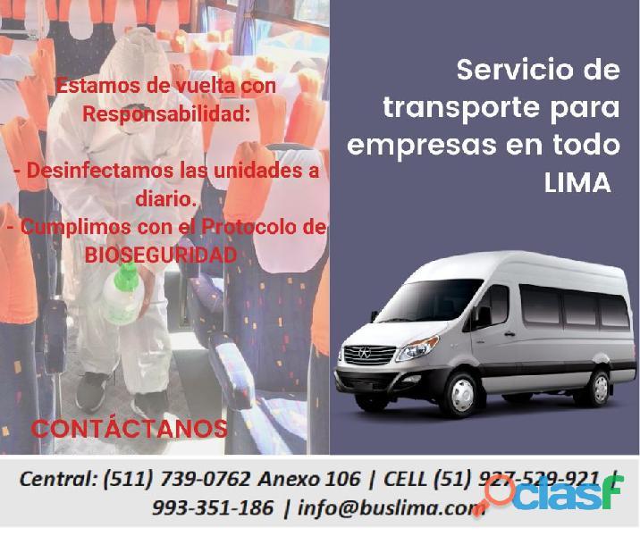 Alquiler de Unidades de Transporte de Personal en Lima .