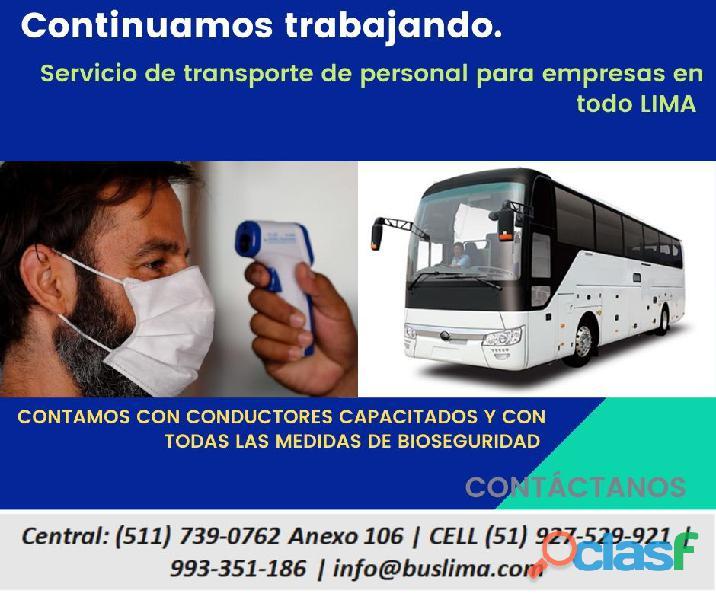 Alquiler de Unidades de transporte para personal de empresas