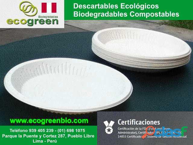 Descartables ECOLÓGICOS biodegradables para alimentos con
