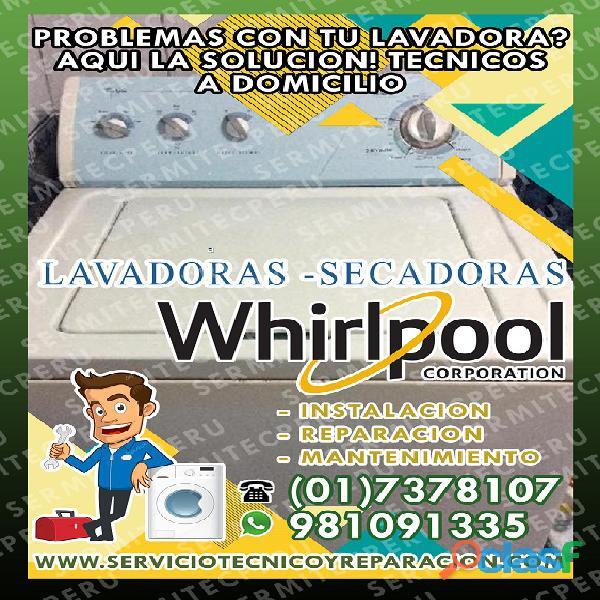 MANTENIMIENTO DE LAVADORAS WHIRLPOOL En Surco >> 981091335