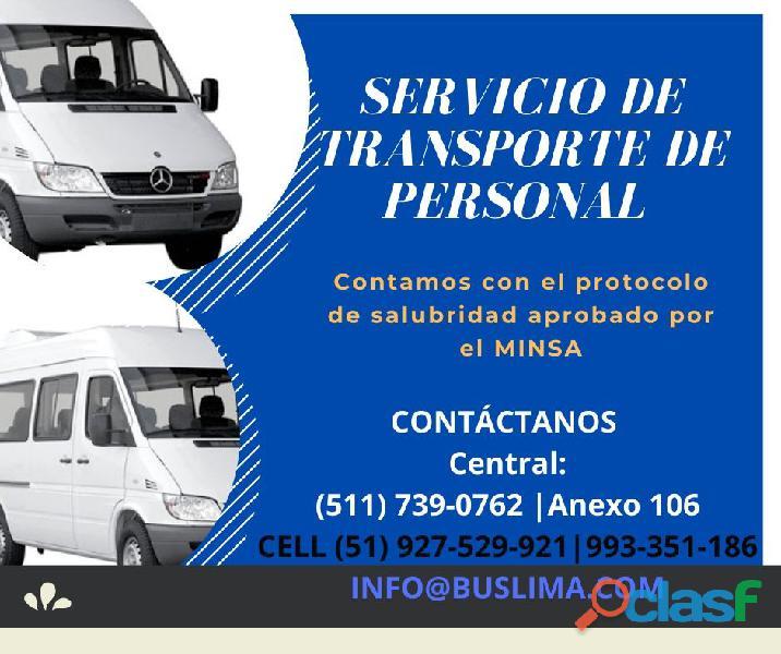 Servicios de transporte de personal con Unidades Nuevas y