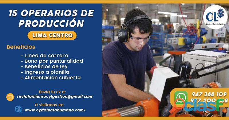 Operario de Producción Planilla Inmediata Crdo. de Lima