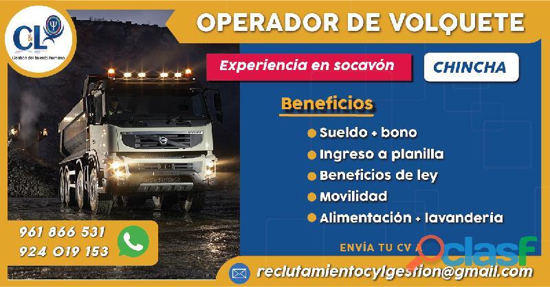 Operador de Volquete Socavón Int. Mina Chincha/Lima